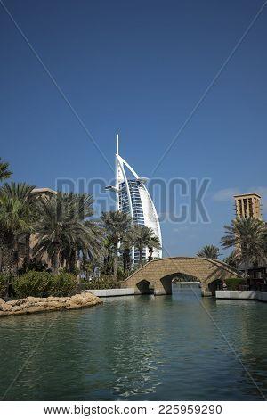 Dubai,uae - January 05,2018: Panoramic View Of The Madinat Jumeirah In Dubai With Palms Tree.madinat