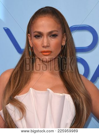 LOS ANGELES - JAN 30:  Jennifer Lopez arrives for the 'World of Dance' Press Junket on January 30, 2018 in Hollywood, CA