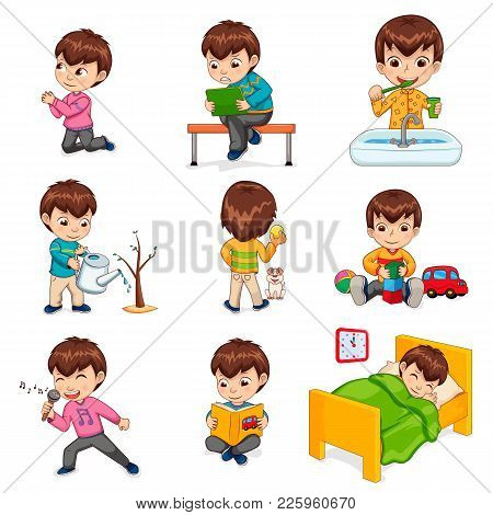 Little Boy Does Daily Routine Actions. Kid Plays With Toys And Tablet, Waters Plant, Brushes Teeth,
