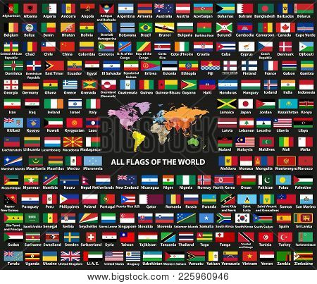 Vector Set Of All World Countries(sovereign States) Flags Arranged In Alphabetical Order. Map Of The