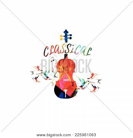 Music Colorful Background With Violoncello. Music Festival Poster. Cello Isolated Vector Illustratio