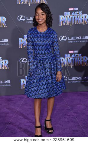 LOS ANGELES - JAN 29:  Marsai Martin arrives for the 'Black Panther' World Premiere on January 29, 2018 in Hollywood, CA