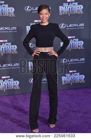 LOS ANGELES - JAN 29:  Storm Reid arrives for the 'Black Panther' World Premiere on January 29, 2018 in Hollywood, CA
