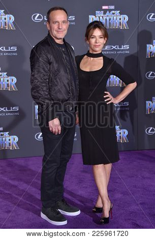 LOS ANGELES - JAN 29:  Clark Gregg and Jennifer Grey arrives for the 'Black Panther' World Premiere on January 29, 2018 in Hollywood, CA