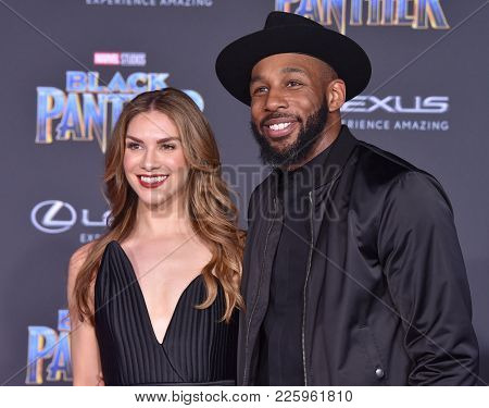 LOS ANGELES - JAN 29:  Allison Holker and Stephen 'tWitch' Boss arrives for the 'Black Panther' World Premiere on January 29, 2018 in Hollywood, CA