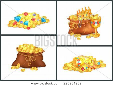 Gold Coins, Expensive Stones And Shiny Precious Treasures In Old Bags And Messy Heaps Isolated Carto
