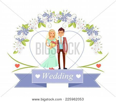 Wedding Poster With Bride And Groom Standing Together Under Floral Arc, Ribbon With Headline And Ico