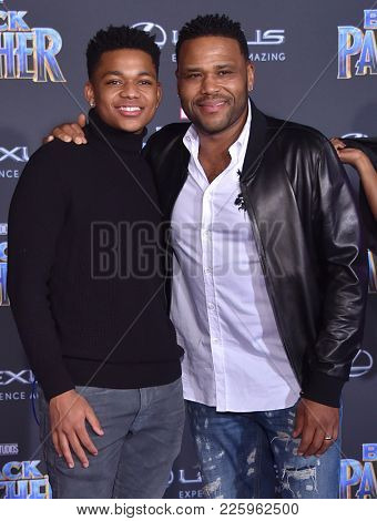 LOS ANGELES - JAN 29:  Anthony Anderson and Nathan Anderson arrives for the 'Black Panther' World Premiere on January 29, 2018 in Hollywood, CA