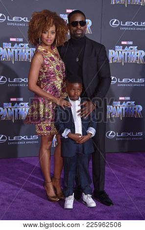 LOS ANGELES - JAN 29:  Ryan Michelle Bathe, Sterling K. Brown and Andrew Brown arrives for the 'Black Panther' World Premiere on January 29, 2018 in Hollywood, CA