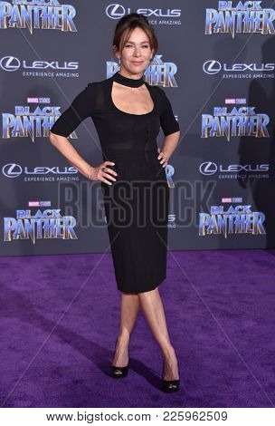 LOS ANGELES - JAN 29:  Jennifer Grey arrives for the 'Black Panther' World Premiere on January 29, 2018 in Hollywood, CA