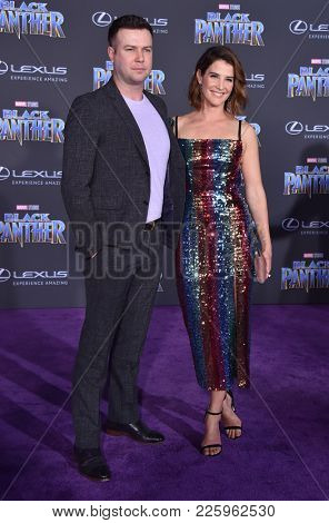 LOS ANGELES - JAN 29:  Taran Killam and Cobie Smulders arrives for the 'Black Panther' World Premiere on January 29, 2018 in Hollywood, CA