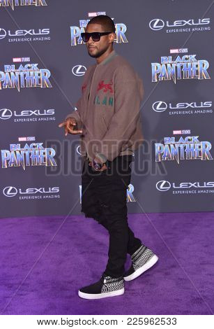 LOS ANGELES - JAN 29:  Usher arrives for the 'Black Panther' World Premiere on January 29, 2018 in Hollywood, CA