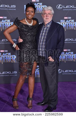 LOS ANGELES - JAN 29:  George Lucas and Mellody Hobson arrives for the 'Black Panther' World Premiere on January 29, 2018 in Hollywood, CA