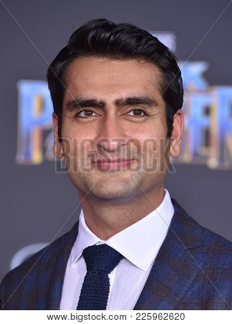 LOS ANGELES - JAN 29:  Kumail Nanjiani arrives for the 'Black Panther' World Premiere on January 29, 2018 in Hollywood, CA