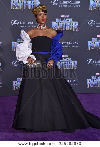 LOS ANGELES - JAN 29:  Janelle Monae arrives for the 'Black Panther' World Premiere on January 29, 2018 in Hollywood, CA