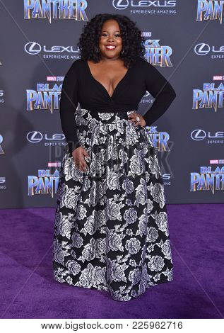 LOS ANGELES - JAN 29:  Amber Riley arrives for the 'Black Panther' World Premiere on January 29, 2018 in Hollywood, CA