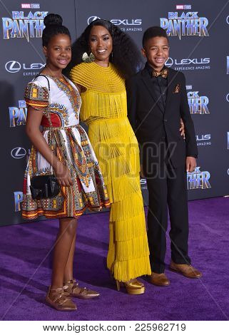 LOS ANGELES - JAN 29:  Angela Bassett, Bronwyn Vance and Slater Vance arrives for the 'Black Panther' World Premiere on January 29, 2018 in Hollywood, CA