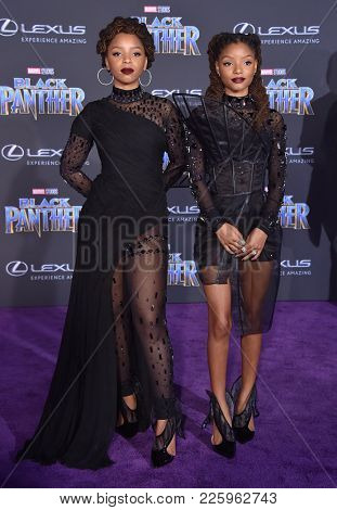 LOS ANGELES - JAN 29:  Chloe X Halle arrives for the 'Black Panther' World Premiere on January 29, 2018 in Hollywood, CA