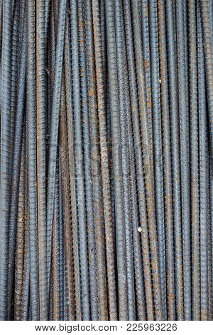 Roll Of Steel Rods Prepare For Heavy Construction Close Up.