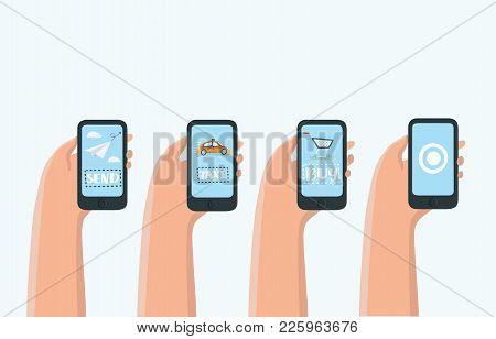 Mobile Apps Concept - Social Networking, Online Business, Communication. Taxi, Messenger, Online Pur