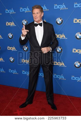 LOS ANGELES - FEB 03:  David Hasselhoff arrives for the 2018 Director Guild Awards on February 3, 2018 in Beverly Hills, CA