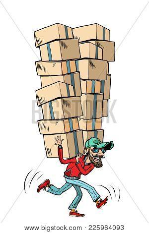 Express Fast Shipping, Lot Of Cargo. Comic Book Cartoon Pop Art Illustration Retro Drawing