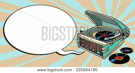 Turntable Comics, Music And Party. Cartoon Pop Art Illustration Retro Drawing