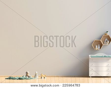 Pastel Child's Room. Playroom. Modern Style. 3D Illustration. Mock Up Wall