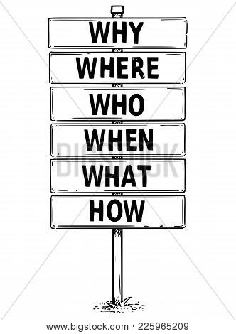 Vector Drawing Of Six Sign Boards With Why, Where, Who, When, What And How Texts.