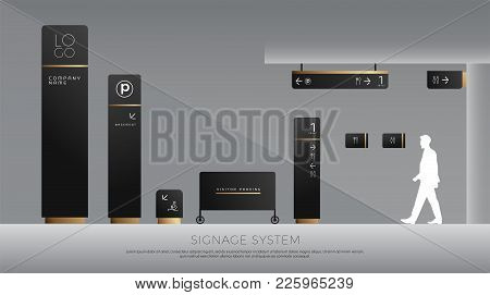 Exterior And Interior Signage Concept. Direction, Pole, Wall Mount And Traffic Signage System Design