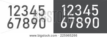 Numbers Origami Alphabet Letters Font Black And White Color Collection. Font Designs For Logo, Poste