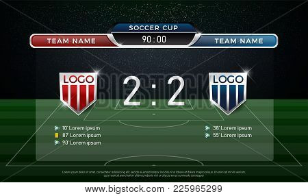 Soccer Scoreboard Team A Vs Team B Strategy Broadcast Graphic Template, Football Score For Web, Post