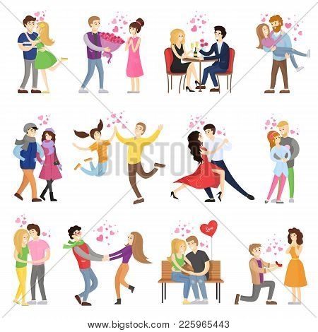 Happy Couples In Love Surrounded With Small Hearts On Romantic Dates, Hug Tight, Whirl In Dance And