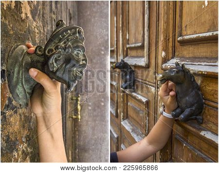 Beautiful Ancient Door Locks And Door Handle In The Form Of A Horse And Head, Italy