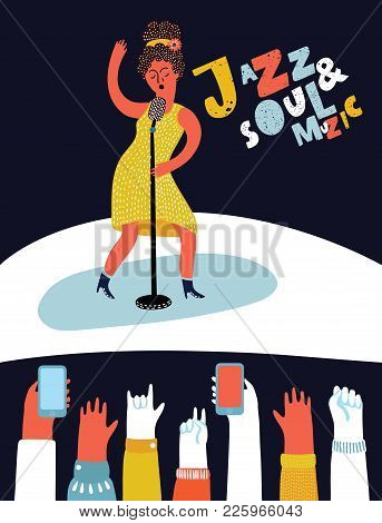 Vector Cartoon Style Illustration Of Afro American Woman Star Celebrity Jazz Singer In Yellow Dress