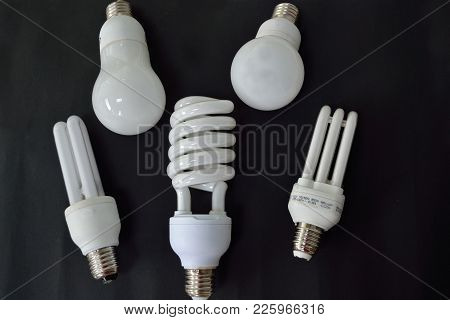 Five Energy Saving Lamps On Black Background - Croped Image