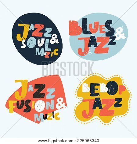Jazz Typographic Vector Brightest Colorful Expression Illustration  Stickers. Music Hand Drawn Lette