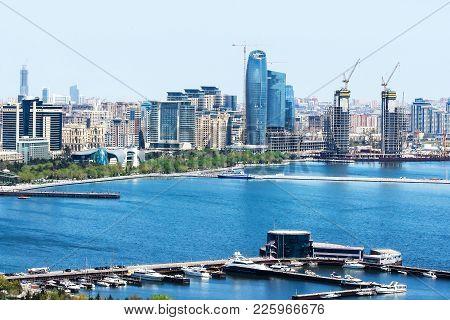 Scenic Landscape Of Urban Skyline Baku With Numerous Modern  Skyscrapers. Baku Is The Capital And La
