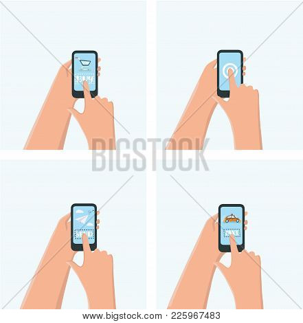 Vector Cartioon Illustration Of Modern Mobile Call Taxi, Messenger, Online Purchase. Set Of Smartpho