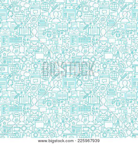 Blog White Line Seamless Pattern. Vector Illustration Of Outline Tileable Background.