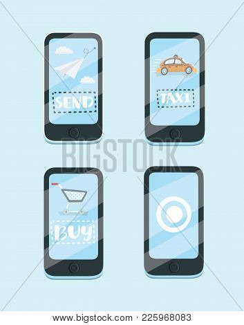 Vector Cartoon Illustration Of Design Vector Concept For Mobile Apps. Taxi, Messenger, Online Purcha