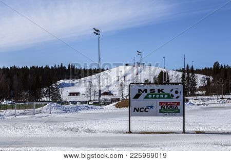 Umea, Sweden On March 28. View Of An Information Board, Sporting Center On March 28, 2016 In Umea, S