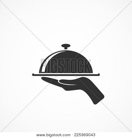Vector Image Of Icon Tray With Lid With Hand.sign Of Food.