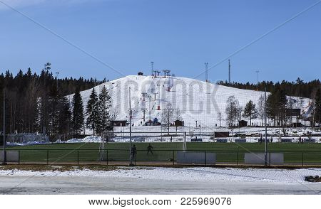 Umea, Sweden On March 28. View Of A Sporting Center On March 28, 2016 In Umea, Sweden. Bright Sunshi
