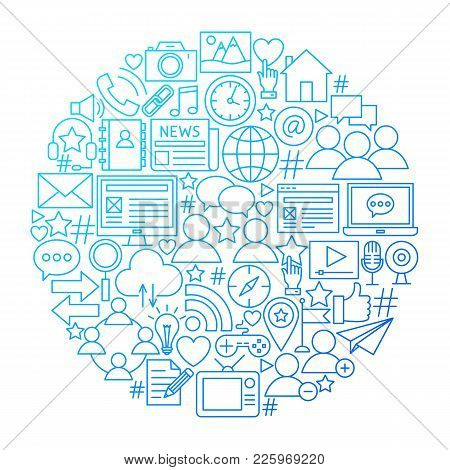 Social Media Line Icon Circle Design. Vector Illustration Of Global Communication Objects Isolated O