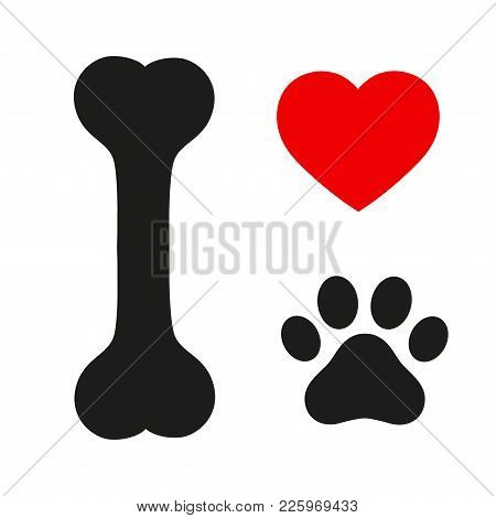 I Love Text With Red Heart And Paw Print.