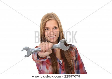 Young woman with a wrench