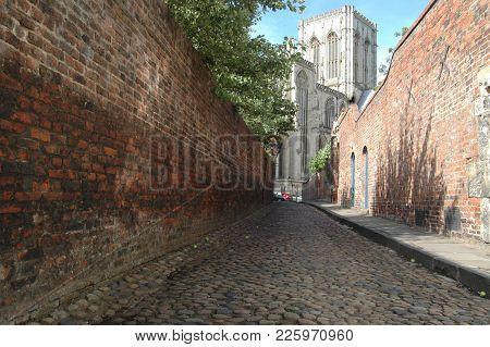 York Minster Viewed Through Cobbled Streets, July 2017