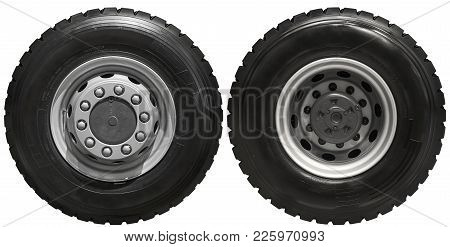 Isolated On White New Front Rear Truck Wheels On Hub With Black Shine Tires. New Clean Commercial Tr
