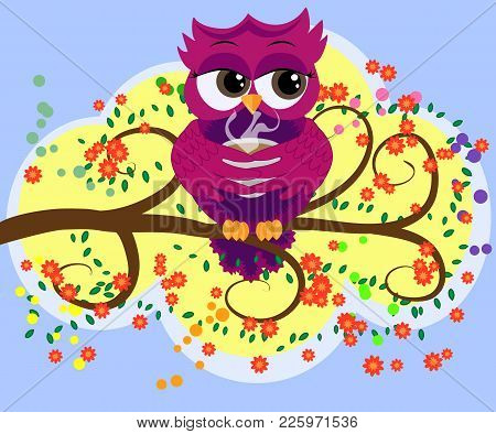 Cute Beautiful Flirtatious Owl On The Tree With A Cup Of Steaming Coffee, Tea Or Chocolate